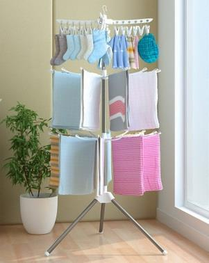 3 Tiers Foldable Cloth Drying Rack and Hanger- White