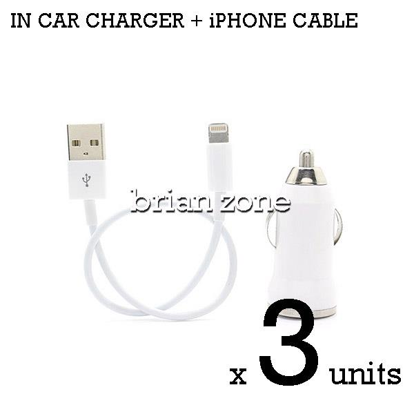 3 units Efficient & Fast Charging 5V 1A Car Charger + iPhone Cable