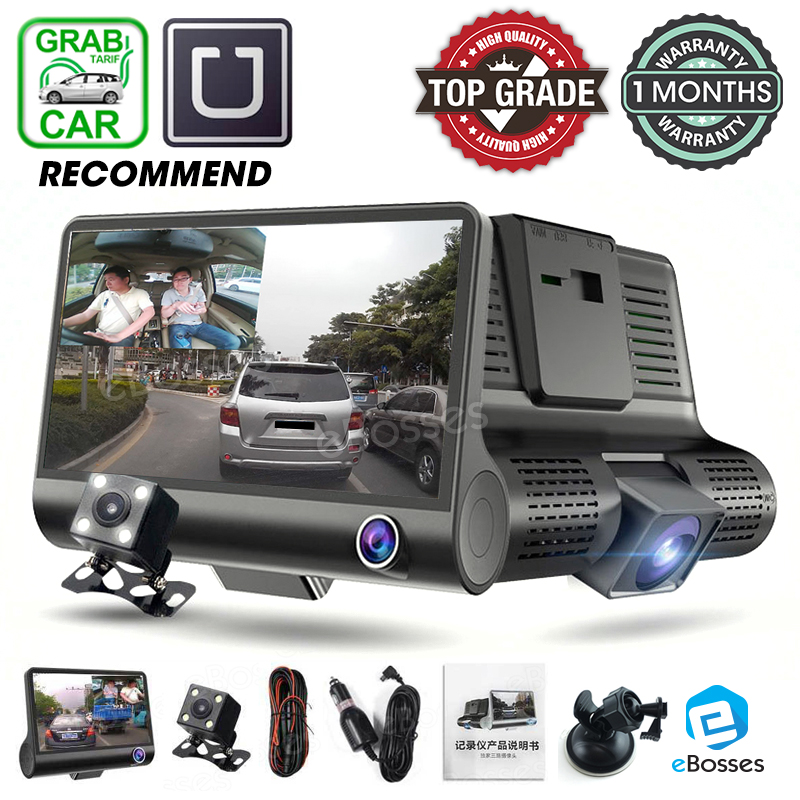 New 3 View Lens Car Camcorder DVR Dash Cam Dashcam Front Rear View Le