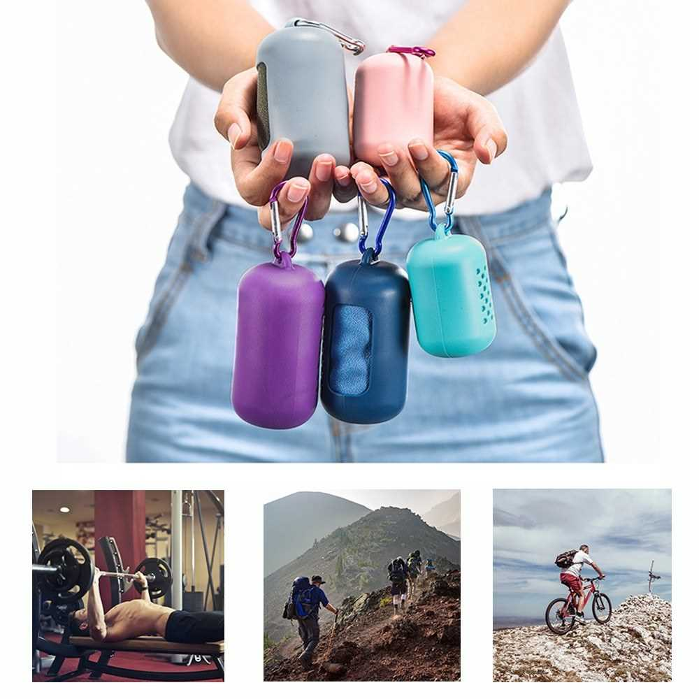 30*90cm Travel Outdoor Sport Cool Towel with Silicone Case Microfiber