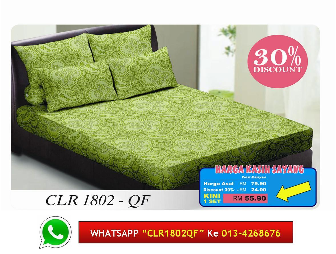 '30% Diskaun Clear Stok' Set Cadar Queen Fitted kod 1802QF Bedsheet