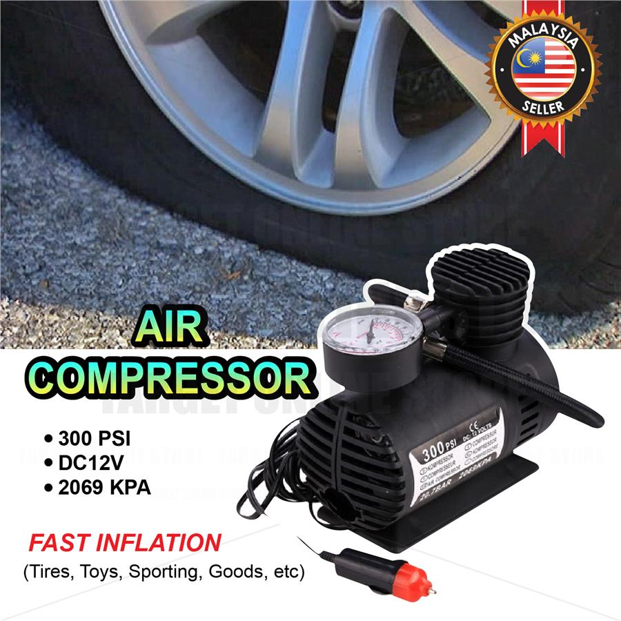 300PSI 12V Multi-Use Heavy Duty Air Compressor Pump Electric Tire