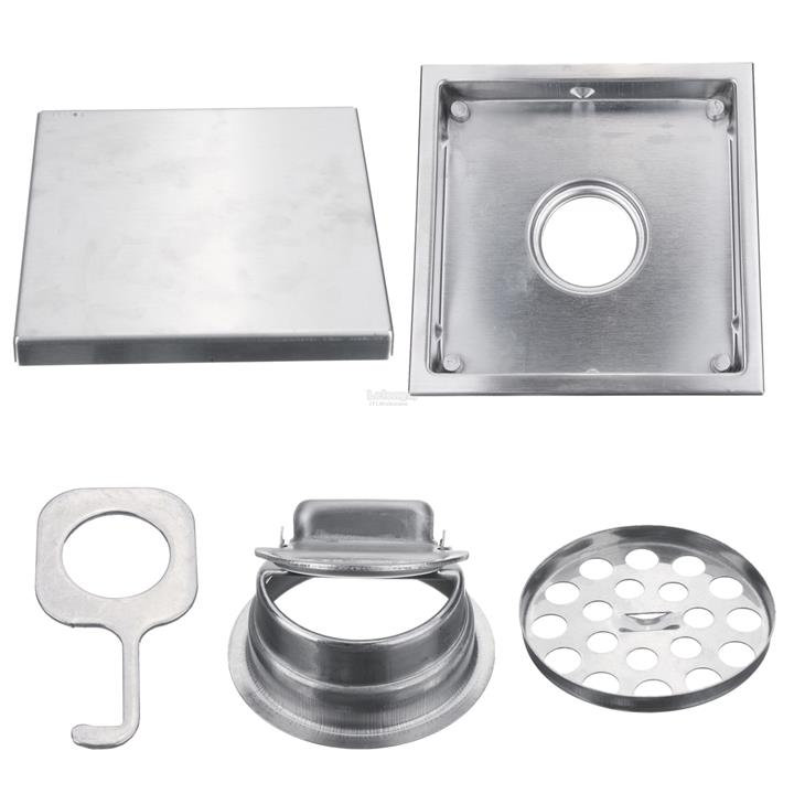 304 Stainless Steel 15 X 15cm Tile Insert Square Shower Floor Drain