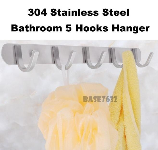 304 Stainless Steel 5 Hook Bathroom Cloth Wall Mount Hanger 2247.1