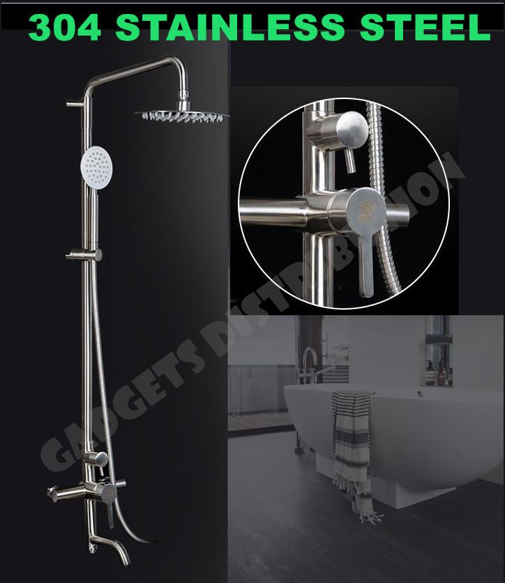 304  Stainless Steel Bathroom Rain Shower Faucet Set with Spray