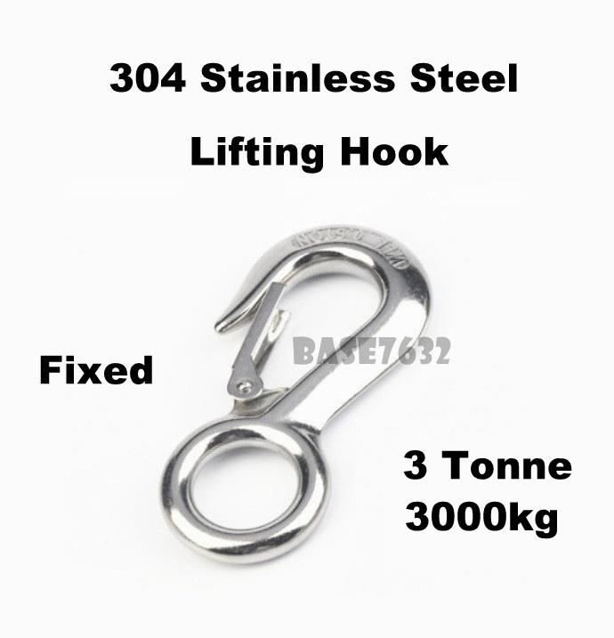 304  Stainless Steel Fixed Eye Lifting Hook 3000kg 3 Tonne Ton 3T