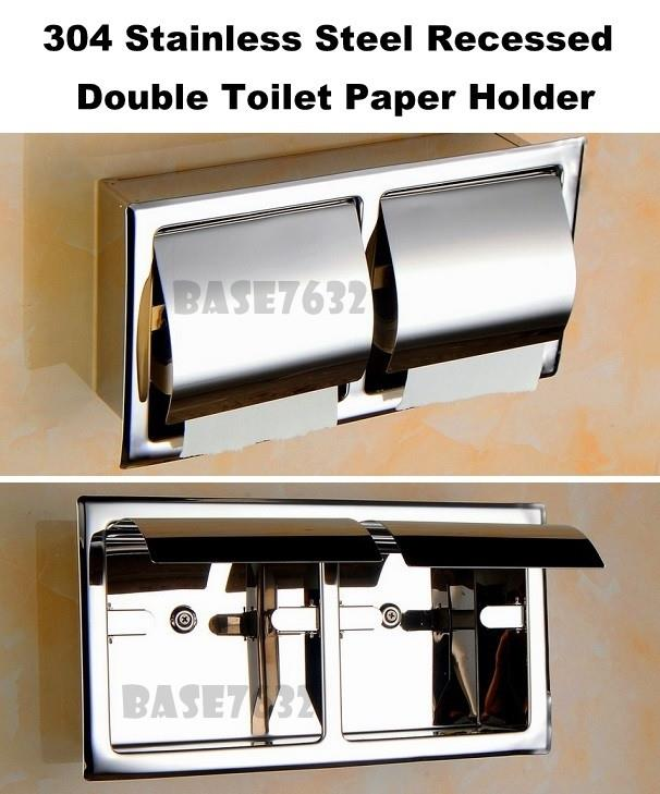 304  Stainless Steel Recessed Double Roll Toilet Paper Holder W/ Lids