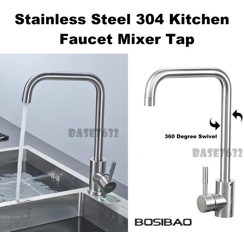 304  Stainless Steel Swivel Kitchen Basin Faucet Mixer Water Tap