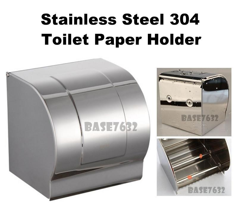 304  Stainless Steel Wall Mount Toilet Tissue Paper Roll Holder Box