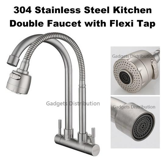 304 Stainless Steel Wall Mounted Double Faucet Water Flexi Tap 2599.1