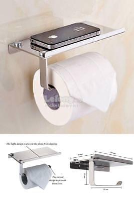 304 Stainless Steel Wall Mounted Toilet Tissue Paper Holder w/ Tray