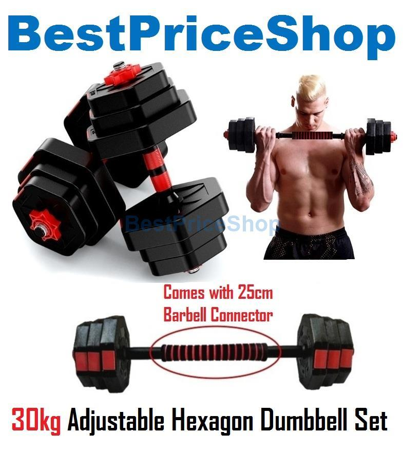30kg Adjustable Hexagon Dumbbell Set Rubber Gym Fitness Weight Plates