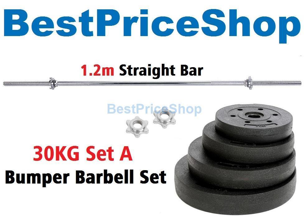 30kg Set A Top Grade Bumper Barbell Dumbbell Weightlifting Bar Gym