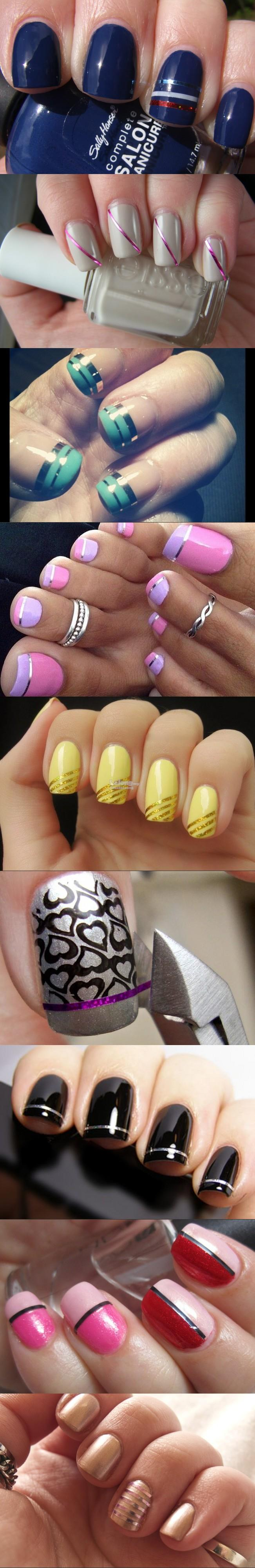 30pcs Nail Art Colour Striping Tape Decoration Accessory Silver Gold