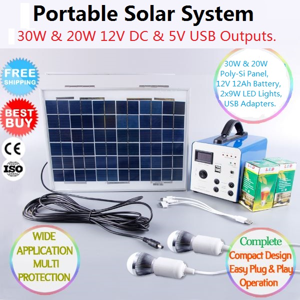 30W 12V PORTABLE SOLAR LIGHT & CHARGE SYSTEM KIT PANEL