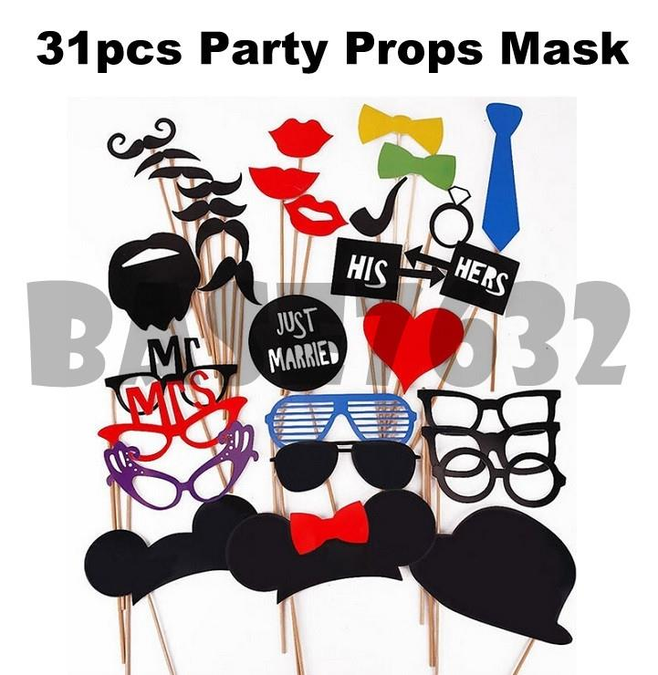 31pcs  Wedding Birthday Shooting Photo Booth Props Mask Stick