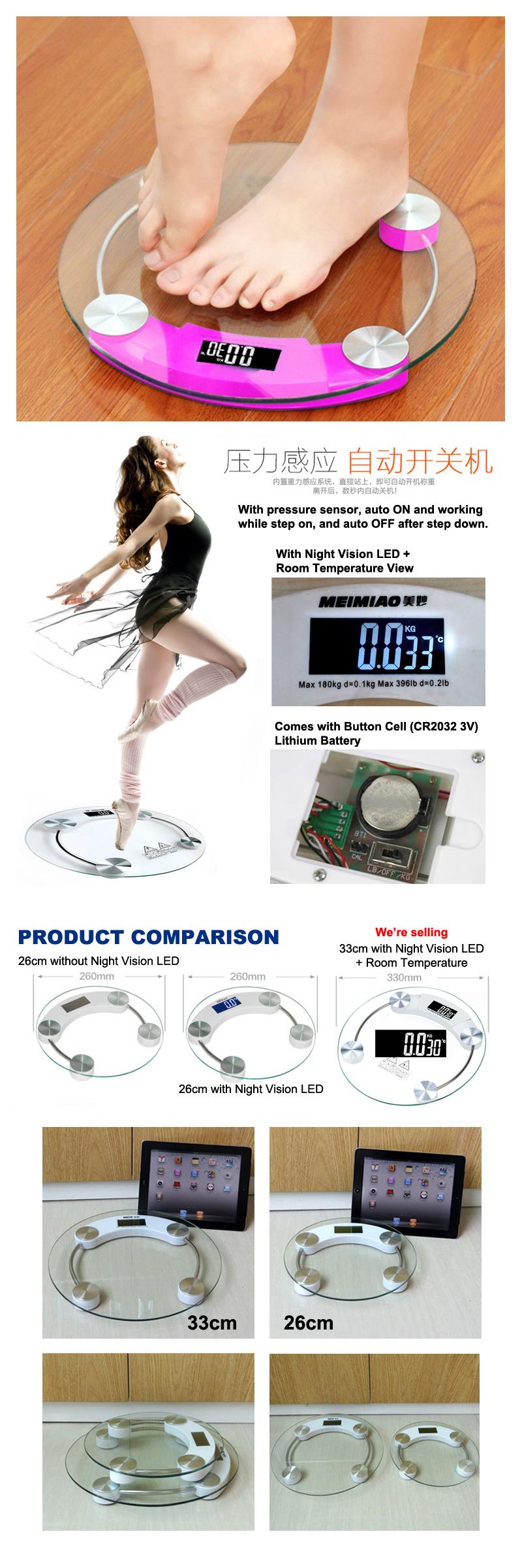 33cm Tempered Glass Body Weight Digital Weighing Scale w/ Night LED