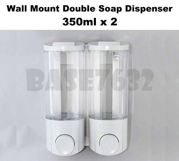 350ml*2 Wall Mounted Liquid Shampoo Soap Pump Dispenser Double 1773.1