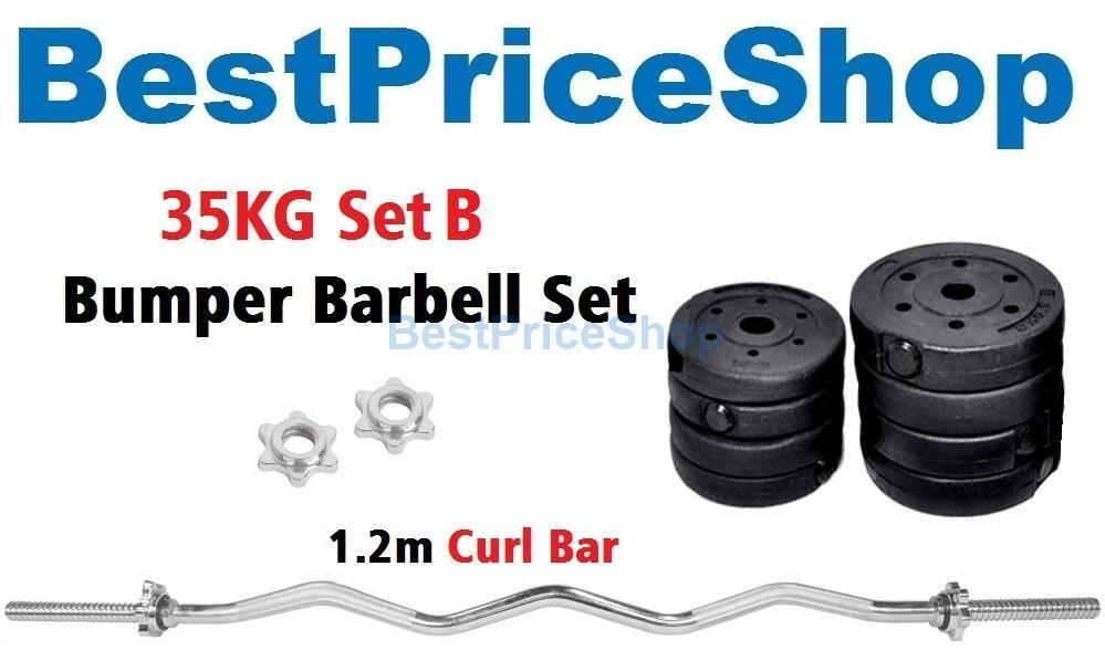 35kg Set B Top Grade Bumper Barbell Dumbbell Weightlifting Bar Gym