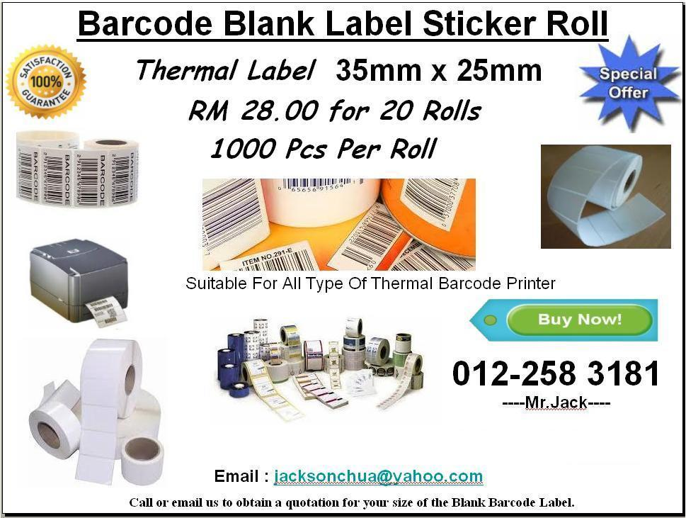 35mm x 25mm Thermal Label Barcode Sticker 20 Rolls