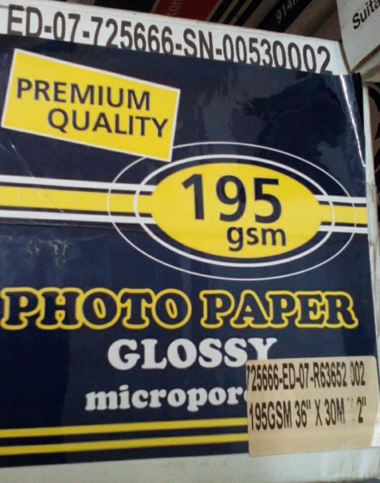 36' PHOTO GLOSSY (195GSM) Wide Format Photo Paper Roll