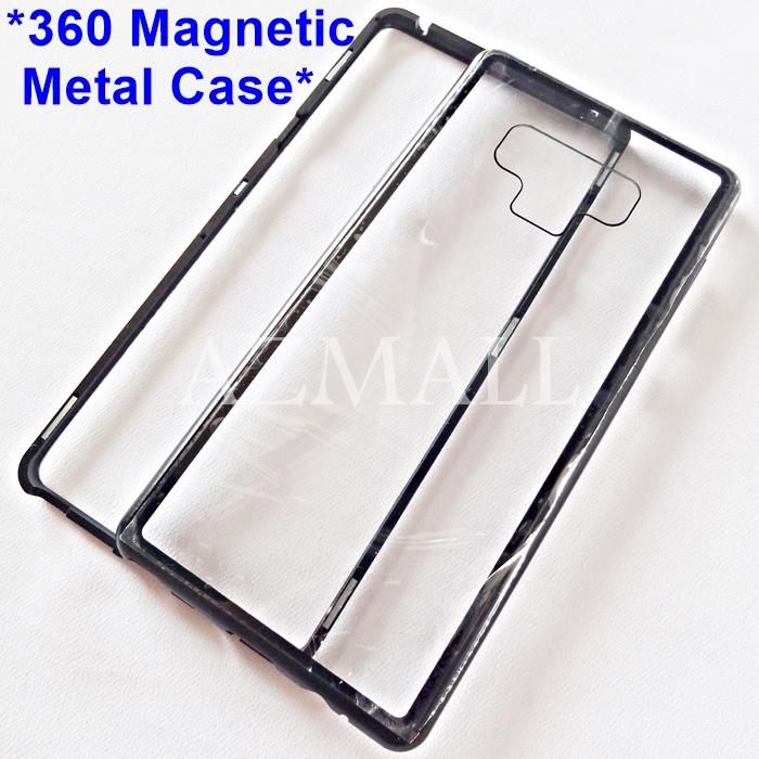 newest 9b111 913f8 360 Magnetic Metal Bumper Back Glass Case Samsung Galaxy Note9 Note 9