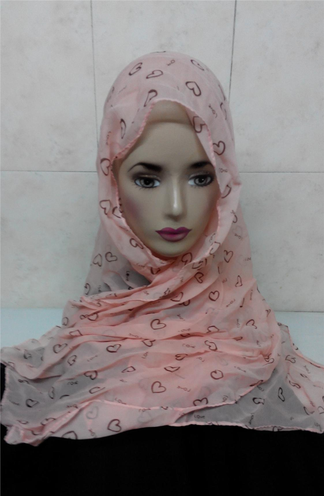 378 - heart shape light pink fashion scarf