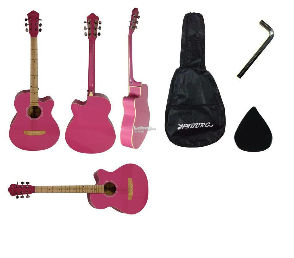 39 Inch High Gloss HYBURG Acoustic Guitar(Pink)+Bag+Pick+Allen Key