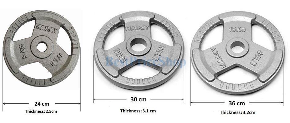 3cm Hole MARCY Cast Iron Dumbbell Weight Barbell Plates 2.5 - 15kg