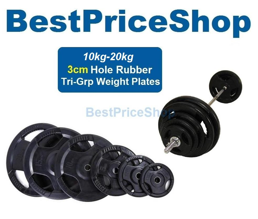 3cm Tri-Grip Handhold Rubber Weight Plate Dumbbell Barbell Plates 20kg