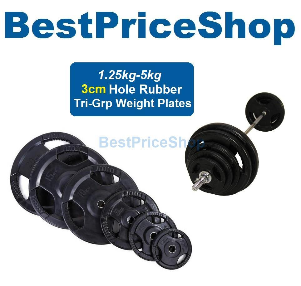 3cm Tri-Grip Handhold Rubber Weight Plate Dumbbell Barbell Plates 5kg