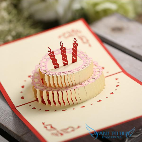 3D Birthday Cake 3d Handmade Card Pop UP Gift Greeting New Baby Invita