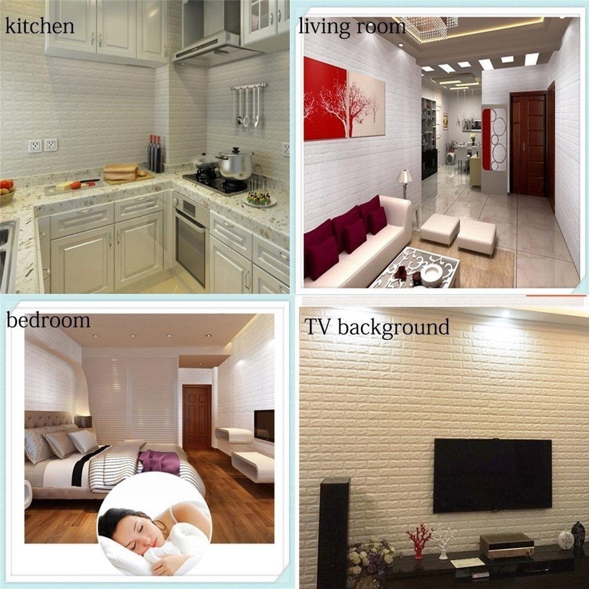 3d Brick Wallpaper Waterproof Wall Sticker Home Wall Self Adhesive