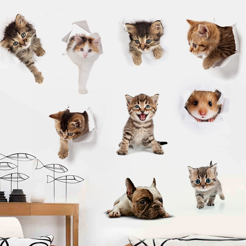 3D Cats Dogs Hamster Wall Sticker Bathroom for Home Decor kids room cu