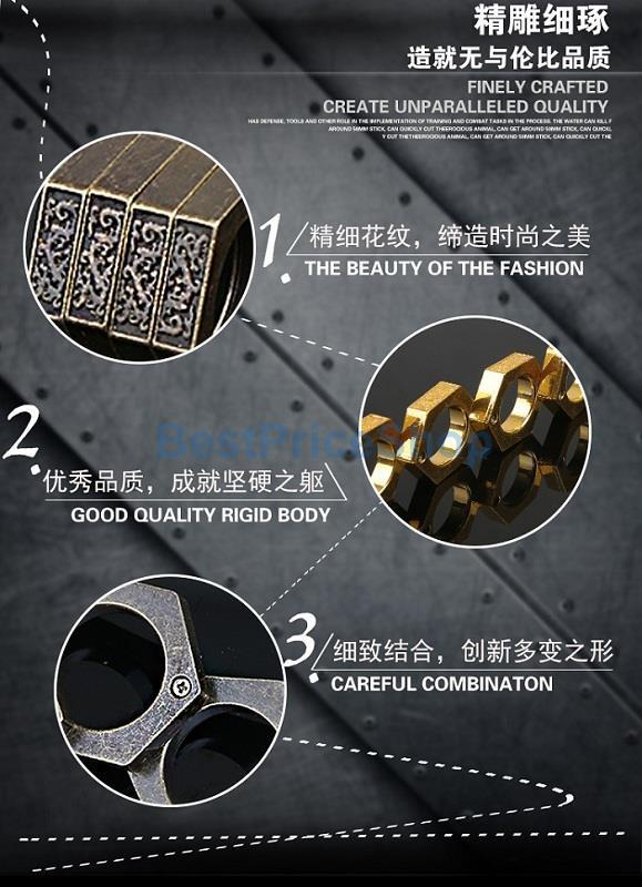 3D Full Steel Movable Self Defence Kung Fu Solid Punching Ring Rings
