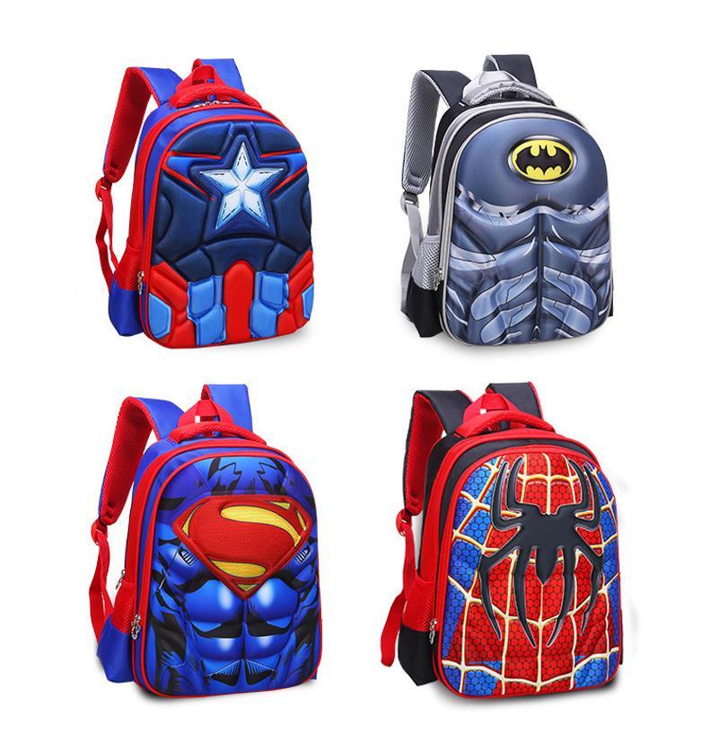 80387bc78293 3D Marvel Cartoon Spiderman Preschool Primary School Bag Kids Backpack