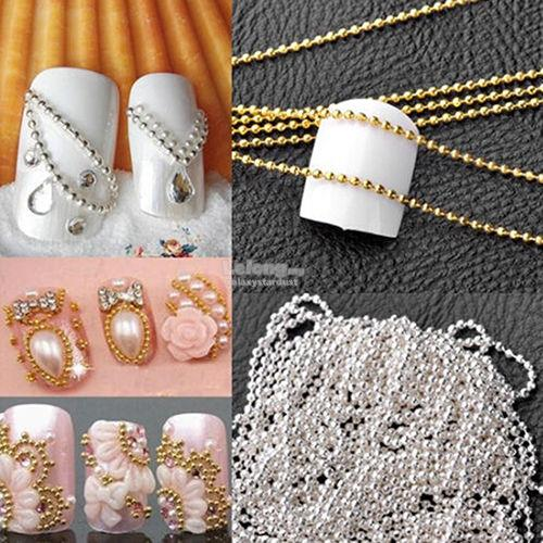 3D Nail Art Jewelry Deco-Chain Line Silver Gold Caviar-Micro Ball Bead
