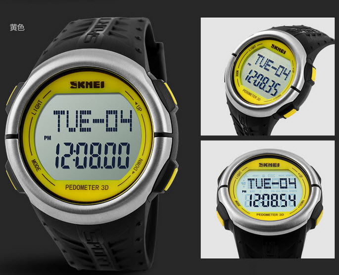 3D Pulse Heart Rate Monitoring Men Watch SKM1058 YELLOW