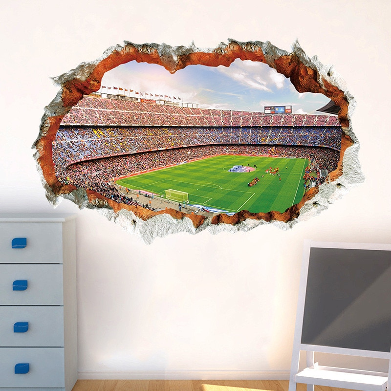 3d Vivid Football Soccer Wall Stickers For Kids Rooms Living Room Bedr