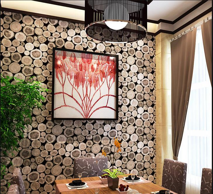 Ideal 3D Wallpaper Round Teak Wood Look De (end 8/5/2019 10:15 PM) AR56