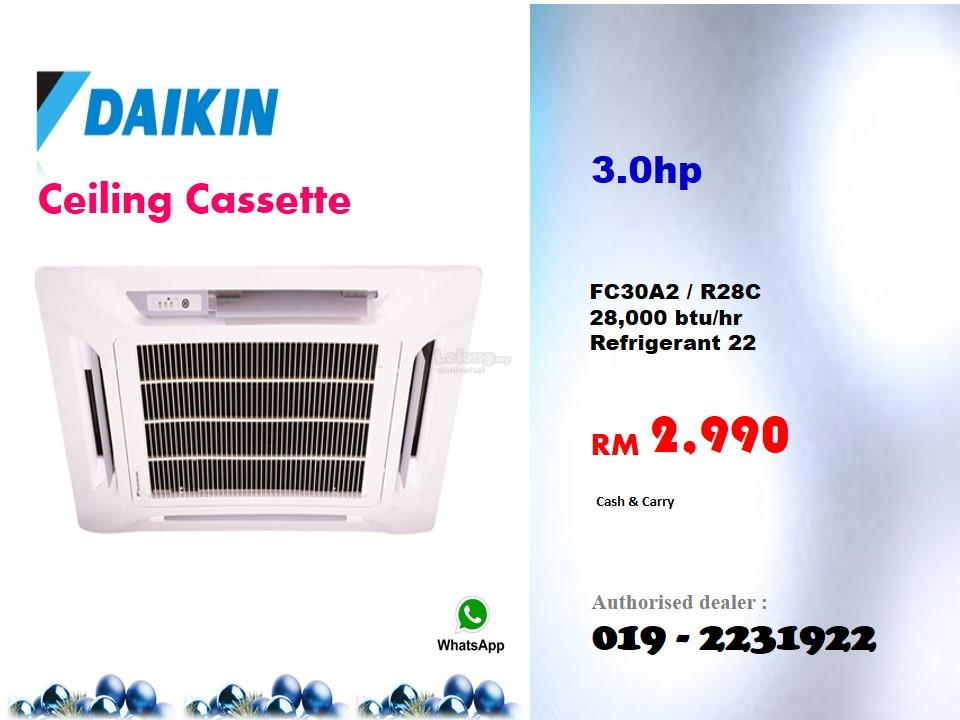 3hp Daikin Ceiling Cassette Air Cond Fc30a2 R28c Non Inverter R22