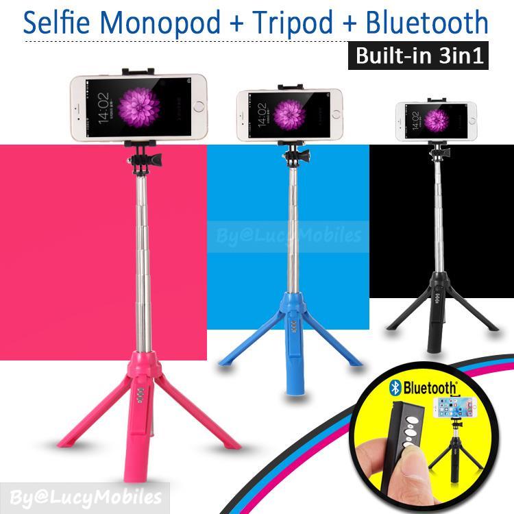 online retailer 0d7e5 6db4b 3in1 BuiltIn Bluetooth Selfie Stick Monopod Tripod for Iphone 6s Note5