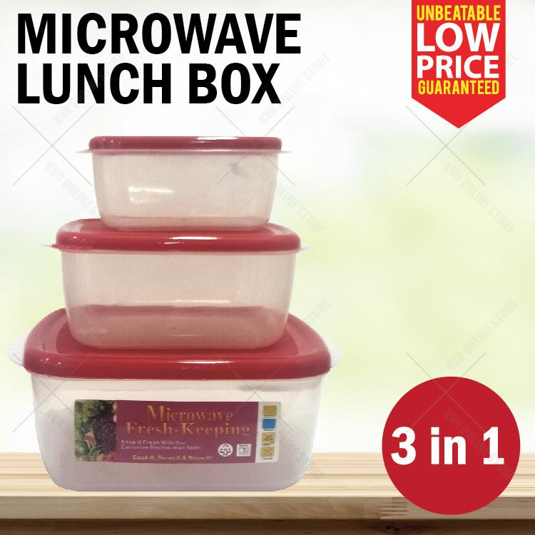 3in1 Lunch Box Food Storage Micowave Freezer Safe Leakproof Container