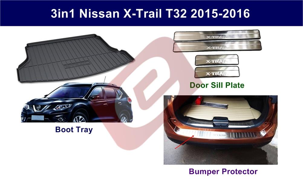 3in1 Nissan X-Trail 2015-2017 Boot Tray + Door Sill Plate + Bumper P.