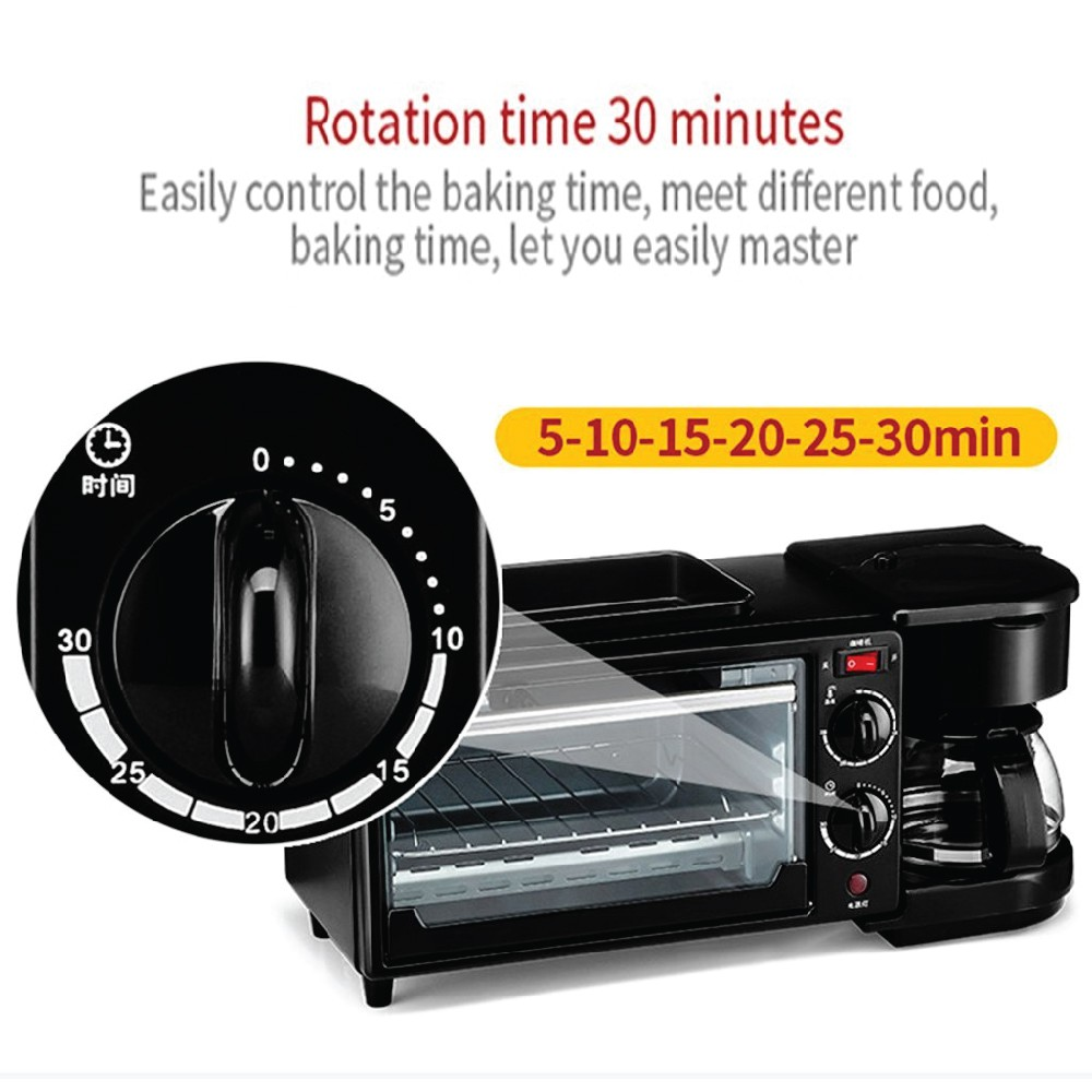 3in1 SML-9L Breakfast Oven Toaster Coffee Machine Frying Pan Grill