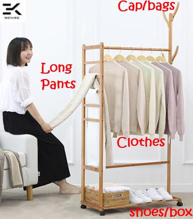 3IN1 Upgraded Bedroom Clothes Hanger Storage Rack with wheel (566)