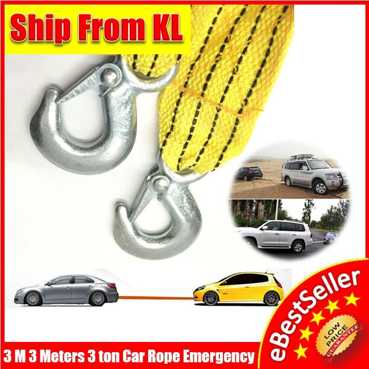 3M 3Meter 3 Ton Tow Rope Hooks Heavy Duty Car Vehicle Emergency