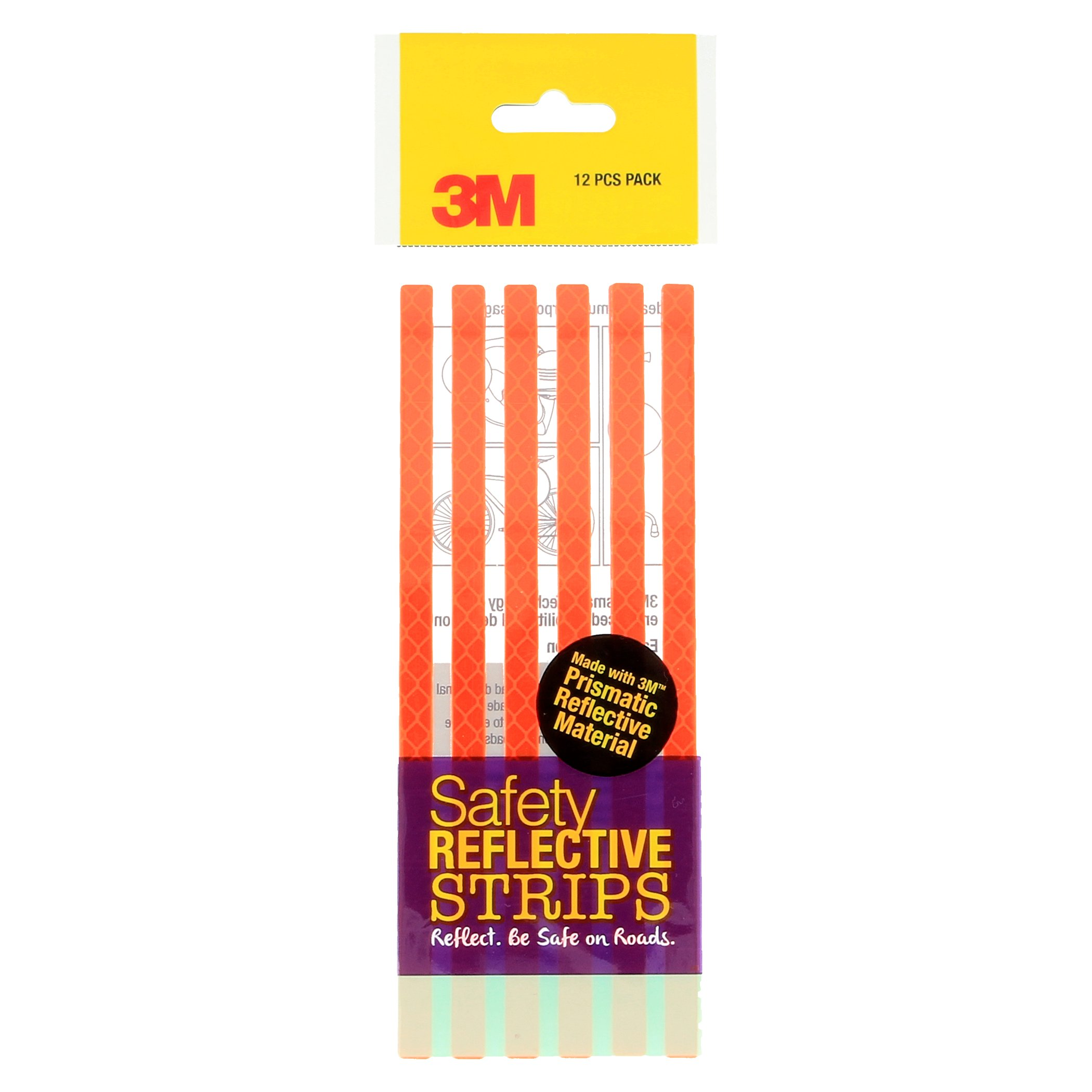 3M Safety Reflective Strips (Fluorescent Orange), 4084, 12 Strips