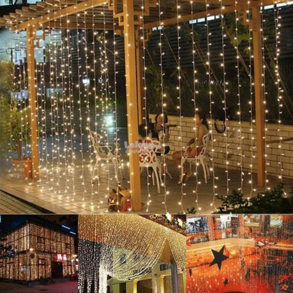3M X 360 LED Curtain Light String Christmas Xmas Garden Party Decor