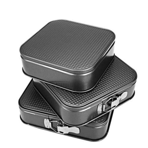 3PCS NON-STICK RECTANGULAR CARBON STEEL COOKIES CAKE PAN BAKEWARE (GRA